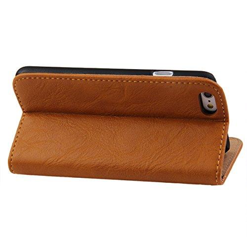 Etche Housse de protection pour iPhone 6/6S 4.7 pouces,Housse en cuir PU pour iPhone 6/6S,couvercle de poche de portefeuille pour iPhone 6/6S,Retro Vintage classique Housse en cuir de cuir flip couver jaune