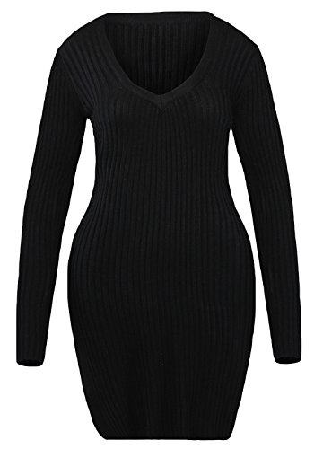 La Vogue Robe Courte Mini Manche Longue Col V Profond Fendue Haut Moulant Femme Noir