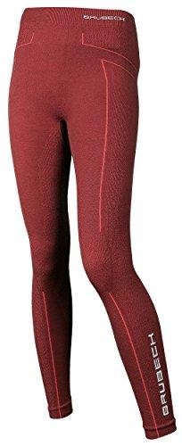 Brubeck Merino Damen Funktionsunterhose Lang | Atmungsaktiv | Winter-Sport | Thermo | Ski-Unterwäsche | Leggings | 78% Merino-Wolle | LE11130 XL Burgund