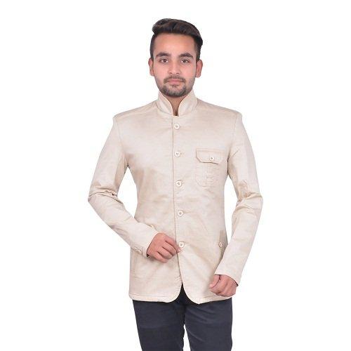 GDS Party Wear Cotton Beige Blazers For Men