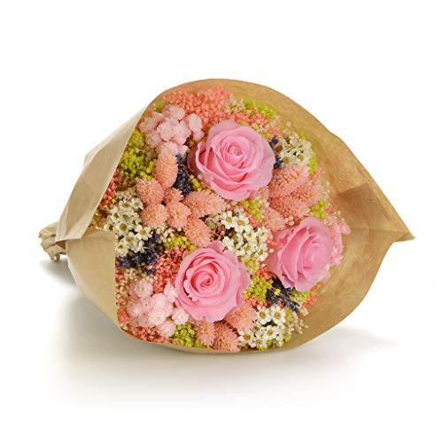 Bouquet momenti (rosa) sanremo fiori essiccati dalla riviera dei fiori con tre rose stabilizzate ...