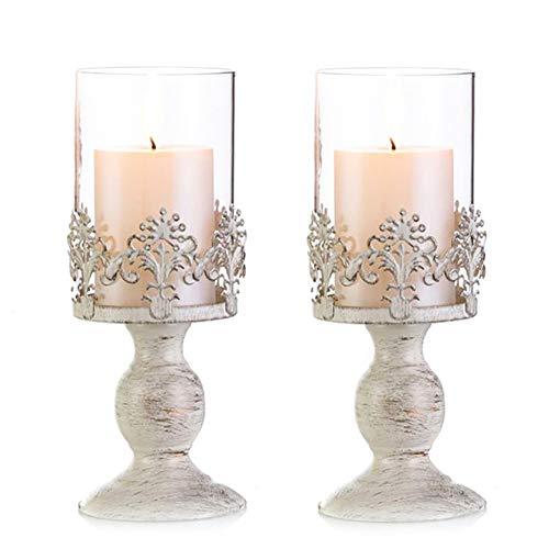 Nuptio Vintag Design Geschnitzter Kerzenständer, Paket Aktualisiert Hochzeit Party Tischdekoration Kerzenständer, Großer Kerzenhalter Metall Glashaube(2 x Klein)