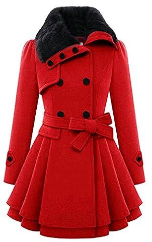 Bestfort Mantel Damen Elegant Wintermantel Warm Gefüttert Revers Lange Ärmel Wollmantel Übergangsmantel Zweireihig Herbst Winter