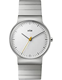 Braun Men's Quartz Watch with White Dial Analogue Display and Silver Stainless Steel Bracelet BN0211SLBTG