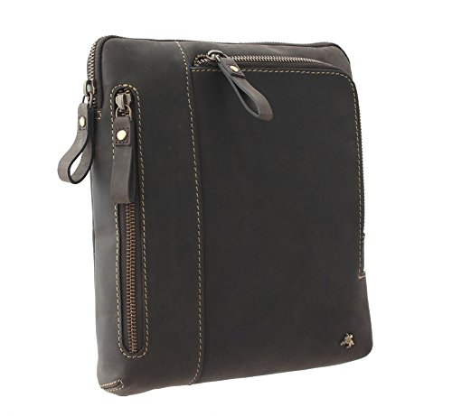 Visconti ROY Borsa Tracolla in Pelle Oleata per Tablet/iPad 15056 Olio Blu Olio Marrone