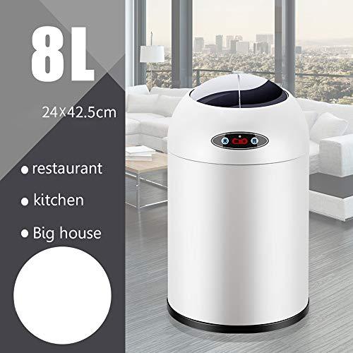 LZRDZSWYXGS La Basura del Sensor Inteligente Puede 6L / 8L / 12L con la Cubierta, Elegante Tapa Blanca...