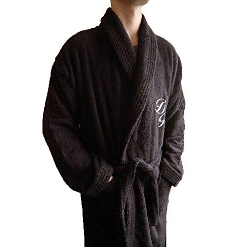 personalizzati Monogramma + nome collo a scialle in cotone tessuto spugnoso-accappatoio nero, 100% Cotone, Black, xx-large