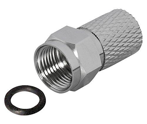 MANAX® Twist-On connettori F per cavo Ø: 8,5mm L: 20mm larghezza madre nichelato, con O-ring