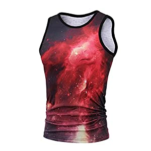 Manadlian Herren T-Shirts Sommer Tank Tops Junge Tops Männer 3D-Star Druck Kurzarm Einfarbig Lässiger Knopf Kurzarm T-Shirt Tops Bluse