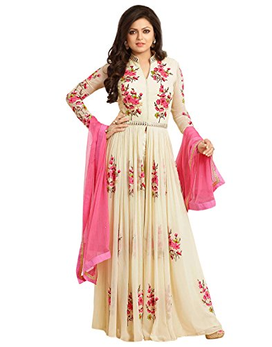 Surat Tex Cream & Pink Color Party Wear Embroidered Georgette Semi-Stitched Anarkali Suit-I74DLHCA  available at amazon for Rs.909
