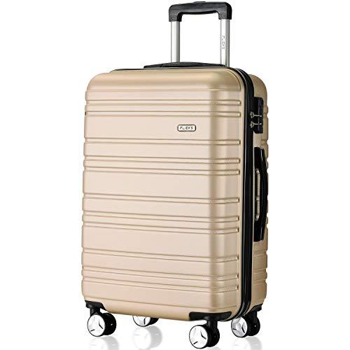 Flieks Hartschale Trolley Koffer Reisekoffer mit Zwillingsrollen mit Zahlenschloss Handgepäck M,35 Liter (Champagner, Handgepäck)