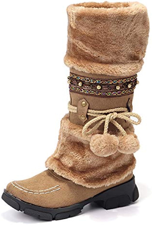 79b05acef78 Gaslinyuan Women s Bohemian Bohemian Bohemian Boots Mid Calf Fur Lined  Beaded Low Heel Shoes (Color   Brown