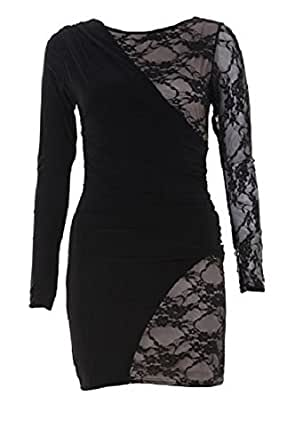 Drape And Lace Detail Bodycon Dress with Lining in BLACK (S/M)