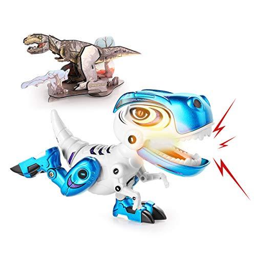 Elektrische Dinosaurier lebensechtes Tyrannosaurus mit Brüllen & Leuchtende Augen Spielzeug für Bildung und Lernen Geschenk für Jungen Mädchen Kinder mit Puzzle Blau