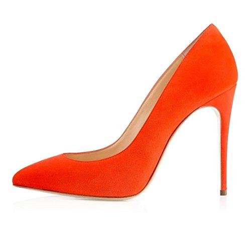 ELASHE - Femmes - Stiletto sexy - Classic - Plusieurs coloris- Cuir synthétique - Talon aiguille 10CM - Bout pointu fermé Orange