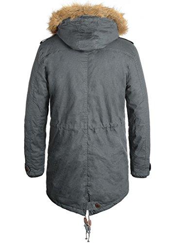 SOLID Clark Teddy Herren Parka lange Winterjacke aus 100% Baumwolle mit Kapuze und Kunstfellkragen, Größe:M, Farbe:Dark Grey (2890) - 2