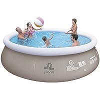 Jilong jl017448nd–P19Quick Up Pool con pompa filtrante e cartuccia, scala, telo pavimento e, 450x 106cm, colore: blu Marine Grigio