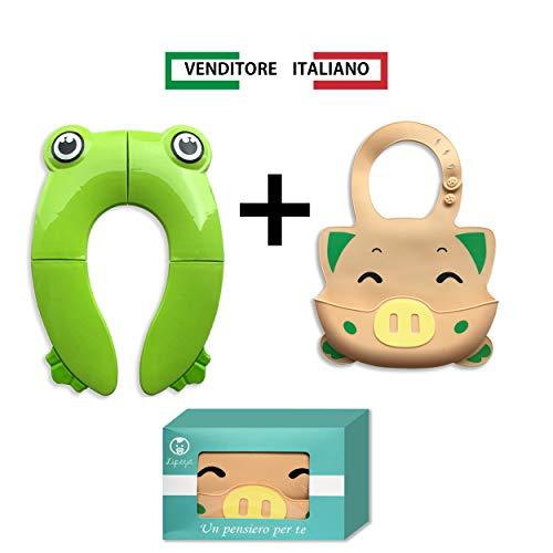 Riduttore portatile wc per Bambini, tavoletta progressi protezione igenica, bavaglino silicone per neonato, idea regalo, tavoletta wc per togliere i pannolini e risparmiare sull'acquisto dei pampers