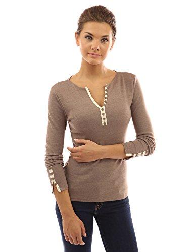 PattyBoutik Sexy Damen Bluse mit Spitze langen Ärmeln und V-Ausschnitt Licht heather brown