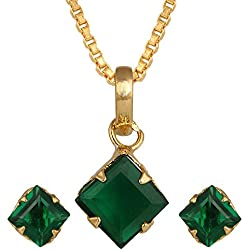 Archi Collection Designer Jewellery Green American Diamond Pendant with Chain and Earrings for Girls and Women