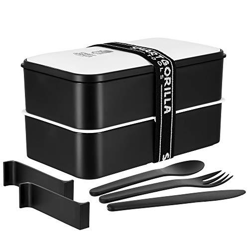 Smart Gorilla Tools - Bento Box [1 l, schwarz, weiß] | Lunch Box mit 2x Trennwand | Brotbox für Kids u. Erwachsene |  BPA frei u. für Mikrowelle geeignet | Brotdose, Vesperdose