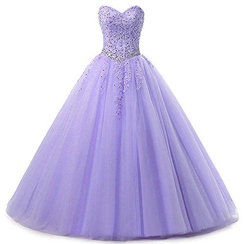 Zorayi Damen Liebsten Lang Tüll Formellen Abendkleid Ballkleid Festkleider Lavendel Größe 44