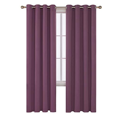 Deconovo tende camera da letto oscuranti termiche isolanti con occhielli per interni 140x290 cm 2 pannelli viola