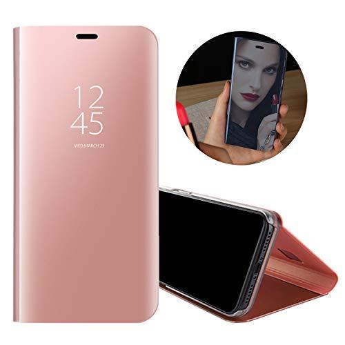 Luxe Placage Miroir Coque pour Samsung Galaxy S7 Edge Or Rose, Obesky Housse Étui en PU Cuir + PC Cover Transparente Clear View Flip Case Antichoc Stand Support pour Samsung Galaxy S7 Edge