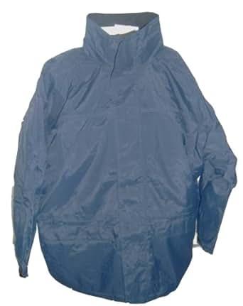 Men's Dark Blue Fleece Lined Waterproof Hooded Jacket Size S,