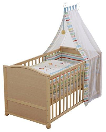 roba Komplettbett Set', Babybett natur inkl. Bettwäsche, Himmel, Nest, Matratze, Kombi Kinderbett 70x140cm umbaubar zum Junior Bett