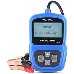 Testeur de batterie TONWON Testeur de charge de batterie de voiture 12V Analyseur de diagnostic de tension et de charge de démarrage automatique de la batterie
