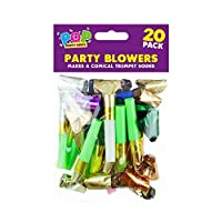 The Home Fusion Company 20 x Party Blowers Loot Bag Filler Noise Toy Assorted Foil Colours Birthday