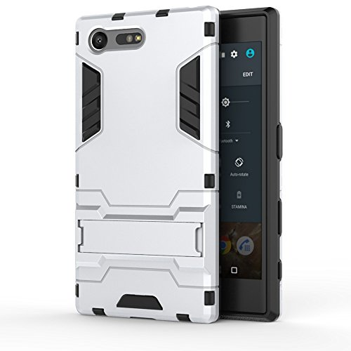 SONY Xperia X Kompakt Hülle Cover, 2 In 1 Neue Armor Tough Style Hybrid Dual Layer Rüstung Defender PC Hard Case Rückseite mit Ständer Shockproof Für SONY Xperia X Compact ( Color : Gold , Size : Xper White