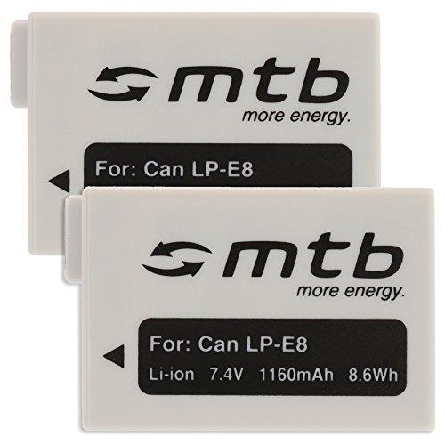 2x Akku LP-E8 [1160mAh | 7.4V | Li-Ion] für Canon EOS 700D, 650D, 600D, 550D / Rebel T5i, T4i, T3i, T2i [1160mAh | 7.4V | Li-Ion]