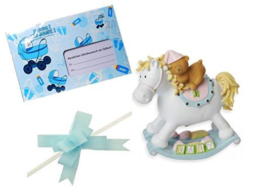 Geschenk zur Geburt 3 teilig Babyparty Taufe Junge blau Geschenk Geburt Pullerparty Spardose