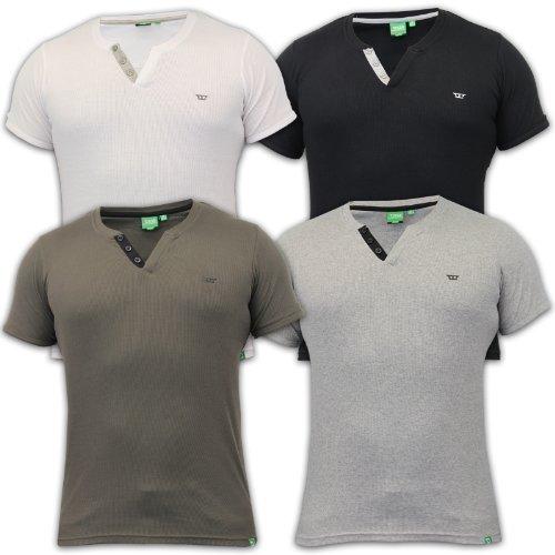 T-shirt Da Uomo D555 A Coste Maglia Top Corto Maniche Scollo V Tinta Unita Estivo (Nero A Coste Con Scollo A V Maglia)