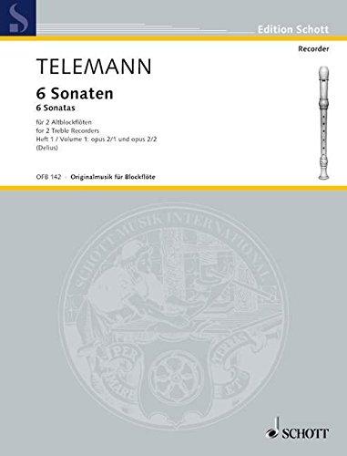 6 Sonaten: Nr. 1-2. Vol. 1. op. 2. 2 Alt-Blockflöten (Flöten). Spielpartitur. (Edition Schott) (Sechs Sonaten Für Zwei Flöten)