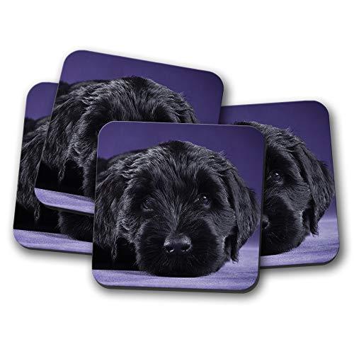 Untersetzer für Hunde #15559, Motiv: Russischer Terrier, Schwarz, 4 Stück -
