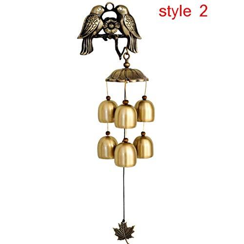 JHEY Draußen Kupfer Vogel Windspiel Antikes Haus Dekoration Kupfer Glocke Windspiel Retro Wandbehang Dekoration Handwerk Bambus (Color : Brass, Größe : Style 2)