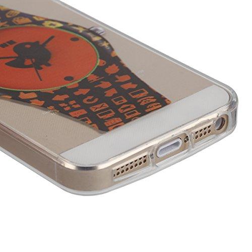 Apple iphone 6s plus Transparent Silikon Case,iPhone 6 plus hülle,Ekakashop Ultra dünn Slim Durchsichtig Transparente Muster Crystal Gel Silikon TPU Motiv Bumper Cas Schutzhülle Etui Tasche Cover Schu Orange Uhren