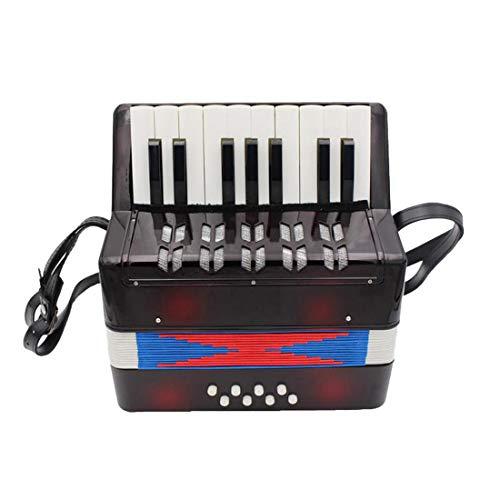 YOU339 17 Tasten Klavier Akkordeon, Akkordeon Musikinstrument Rhythmus Lernspielzeug für Erwachsene Kinder Anfänger Amateur, Schwarz