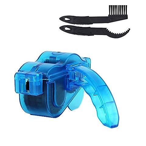 Lonzoth Fahrrad Kettenreinigungsgerät mit Ritzelbürste Fahrrad Kettenreiniger Set für Zahnkranz und Kettenreinigung Cycling Bike Bicycle Chain Cleaner (Blue)