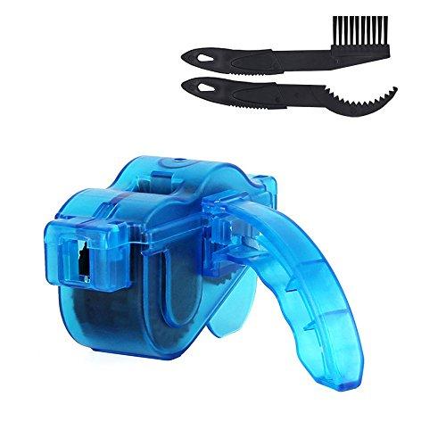 Fahrrad Kettenreinigungsgerät Lonzoth mit Ritzelbürste Fahrrad Kettenreiniger Set für Zahnkranz und Kettenreinigung Cycling Bike Bicycle Chain Cleaner (Blue)