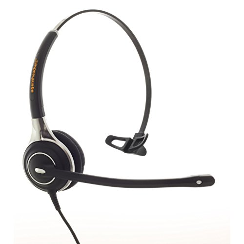 Premium Single Ear Noise Cancelling Office/Call Centre Headset With U10P Bottom Cable works with Mitel, Nortel, Avaya Digital, Polycom VVX, Shoretel, Aastra + Many More Nortel Single