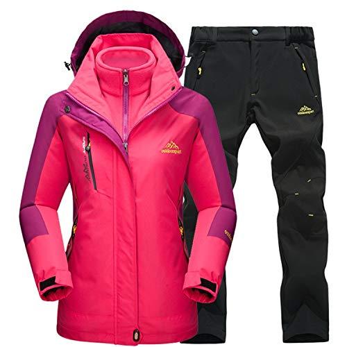 Damen Skianzüge Winter wasserdicht Warmhalten Bergsteigeranzug Furnier Double Board Jacken, Female Rose-Black, M