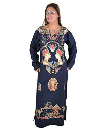 (Cleopatra Pharao Kostüm Damen-Kaftan Faschingskostüm Karnevalskostüm Ägypterin , nachtblau (52-54 (2XL)))