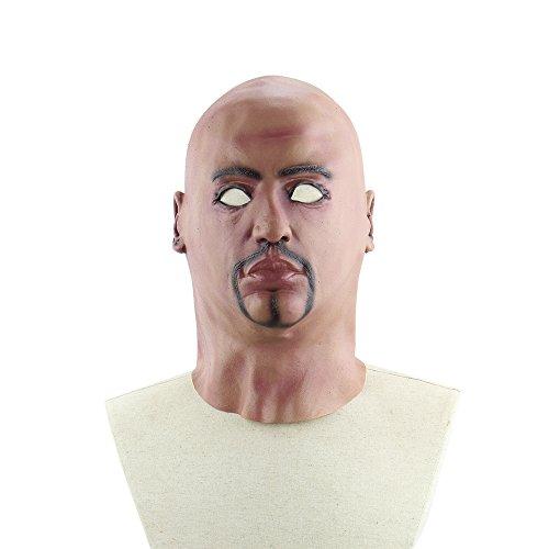 Decdeal Realistisch Herren Maske Halloween Maske mit Spitzbart aus Latex (Halloween Maske Realistisch)