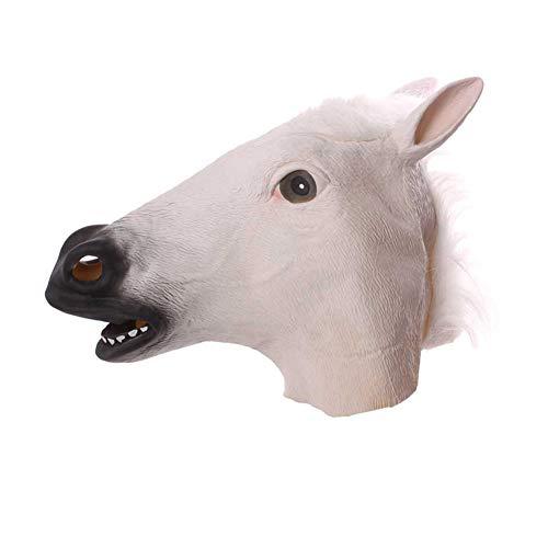 Kostüm Pferd Weißes - Sherineo Pferdemaske für Halloween Maske Latex Tiermaske Erwachsene Pferdekopf Pferd Kostüm für Weihnachten Party Dekoration (Weiß)