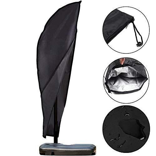 Hete-supply 210D Oxford Tuch Outdoor Regenschirm Bezüge Patio Outdoor Wasserdicht mit Reißverschluss, versetzt Schirmhülle Markt Sonnenschirm Bezug Alle Wetter Schutz Passend für 9ft bis 11ft (9 Sonnenschirm Ft)