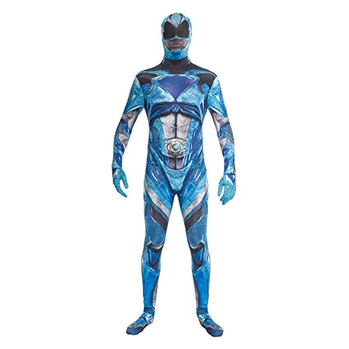 - Offizielles Deluxe Film Power Ranger Kostüm - Größe Large - 5'5-5'9, 163 cm-175 cm, blau (Power Ranger Halloween)